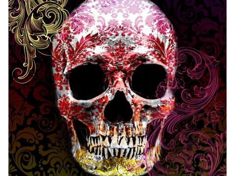 Tête de mort en couleurs